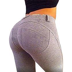 Leggings Muje Elegantes Elasticos Pantalones Fitness Sport Yoga deportivos Gris M