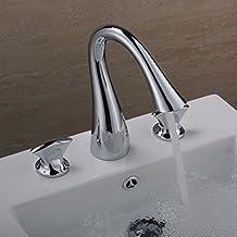 Hiendure® Ottone massiccio Vasca da bagno Miscelatori Rubinetto lavandino del bagno Molto diffuso 3 fori (2 Maniglia Diffuso Rubinetto Di Lavabo)