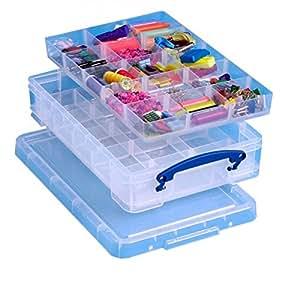 REALLY USE BOX Boîte plastique 4 L transparent incolore, avec 2 casiers amovibles de 15 cases