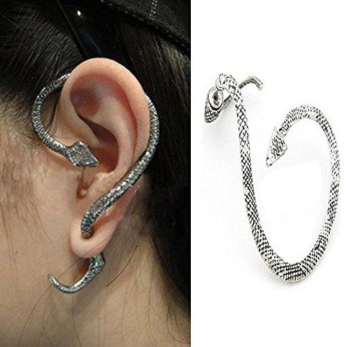 suchadaluckyshop 1PC/orecchio destro antico Siver serpente moda cristallo clip orecchino singolo da donna punk Wrap cartilagine orecchino gioielli