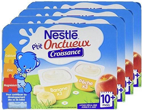 Nestlé Bébé P'tit Onctueux Croissance Pêche/Banane Laitage dès 10 Mois 6 x 60 g - Lot de 4