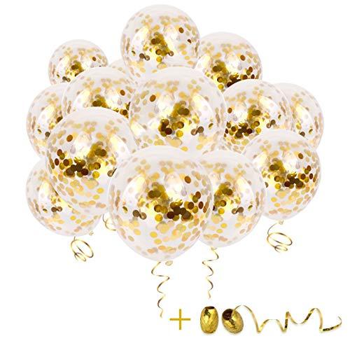 BUZIFU 30pcs Globos Confeti Dorado 2 Rollos