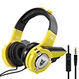 VCOM Kids Headphones, Adjustable Over Ear Robot Children Boy Headphones Friendly Headset for iPad Computer Laptop Tablet Smartphone iPhone Samsung Android, Christmas/Birthday Gift for Children- Yellow