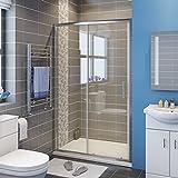 Duschkabine Duschtür 120cm Nischentür Duschabtrennung Schiebetür aus ESG Glas mit Duschtasse 120 * 80cm