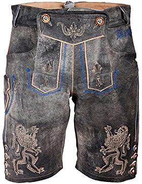 Michaelax-Fashion-Trade Krüger - Herren Lederhose mit Blauen Stickereien in grau, Bayern (92655-44)