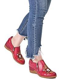 gracosy Mocasines de Mujer Wedge Merceditas Planos de Cuero cómodos Planos para Mujer Zapatos Flores Slip-on,…