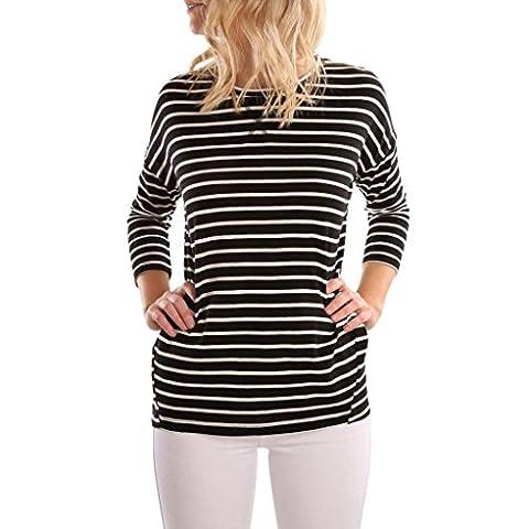 Malloom Femmes Tops Blouse T-Shirt Épissure en dentelle Manche longue (L, Noir)