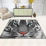 GuoEY Alfombras alfombras Mat 5'x7', Animal de poliéster la Cara del Tigre Antiresbaladiza Salón Dormitorio Comedor Alfombra Felpudo de Entrada a la decoración del hogar