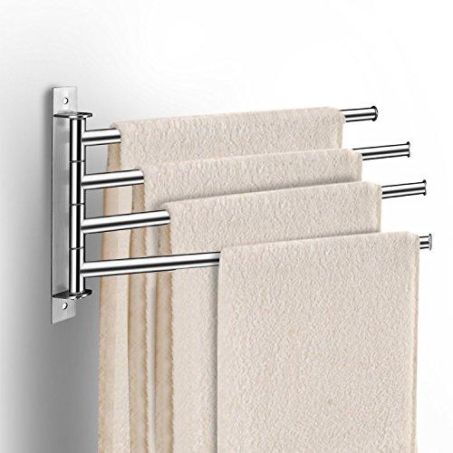 Qobobo portasciugamani a parete in acciaio inox porta asciugamani rack gancio da muro con 4 braccia rotazione di 180 ° bagno organizzatore (argento)