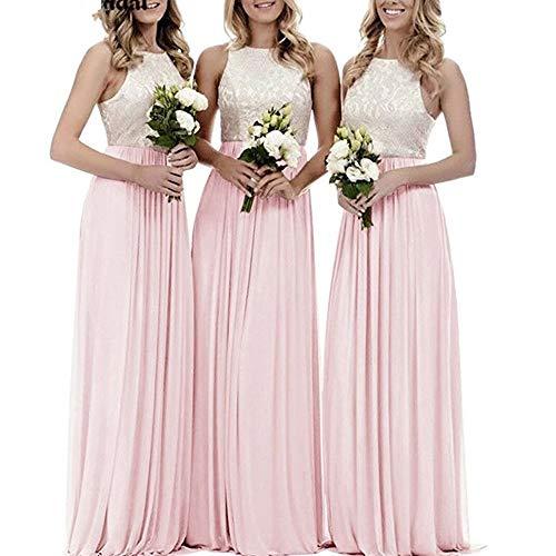 Frauenkleid Partei Formale Kleid Brautjungfer Spitze Dres-Frauen Höhe Taille ärmelloses Chiffon langes Kleid (Farbe : Rosa, Size : US20) Rosa Formale Kleid