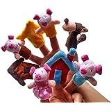 8pcs Juguete de Dedos Finger Educativo Marioneta de Mano Títeres Patrón Tres Cerditos para Canción Infantil Cuento De Hadas Divertido Kawaii para Bebé Niños