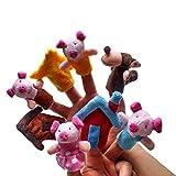 Beauty DIY Mart 8pcs Juguete de Dedos Finger Educativo Marioneta de Mano Títeres Patrón Tres Cerditos para Canción Infantil Cuento De Hadas Divertido Kawaii para Bebé Niños