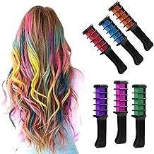 HMILYDYK brillante pelo peine de tiza temporal no tóxico metálico con purpurina juego de tinte de pelo para niños pelo teñido parte y Cosplay DIY 6unidades