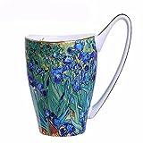 Tassen Becher Sternennacht Kaffeetasse, Retro Set für Sonnenuhr Weizenfeld Set, Einzelne Tasse mit Löffel Ölgemälde Tasse Nacht Cafe, H