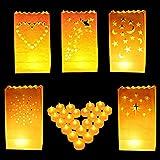 Kerzentüten - 50 teiliges Set Sterne, Herz, Tüpfel, Sterne & Mond und Schmetterling Design - Weiß Lichttüten Luminari Kerzentüten Laternen & 50 Teelichter Kerzen für Hochzeiten und Geburtstage