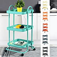 Fanilife Serving Cart Rolling Storage Dining Cart 3 Tier Mobile Metal Kitchen Trolley Cart Storage Units Kitchen Garden Hotel Serving Cart Blue