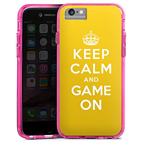 Apple iPhone X Bumper Hülle Bumper Case Glitzer Hülle Keep Calm Gaming Statements Bumper Case transparent pink