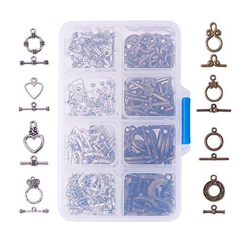 Pandahall Elite 80 Sets tibetischen Stil Legierung Knebelverschluss-Sets für Schmuckherstellung, bleifrei und nickelfrei, Mischfarbe, 11x7x3cm