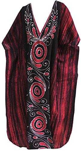 La Leela casual camouflage robe caftan longue plage manches usure de chapeau de coton v cou robe Rose