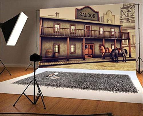 EdCott 9x6ft Vinyl Ancient Western Saloon Dos Caballos Suelo Madera Fotografía Fondo Telón Fondo para fotografía Sesiones fotográficas Fiesta Adultos Boda Retrato Personal Vinyl Photo Studio