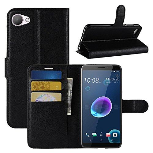 HualuBro HTC Desire 12 Hülle, Premium PU Leder Leather Wallet HandyHülle Tasche Schutzhülle Flip Case Cover mit Karten Slot für HTC Desire 12 Smartphone (Schwarz)