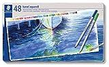 Staedtler Karat Aquarell, Crayons de couleur aquarellables de qualité professionnelle, Grande miscibilité des couleurs, Boîte métal de 48 crayons assortis, 125 M48