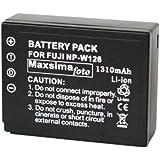 Maxsimafoto - NP-W126, Fully Compatible Battery, 1310mAh, for Fujifilm fits X-Pro1, X-E1, X-E2, X-M1, X-A1, X-T1, FinePix HS50EXR, HS30EXR, HS33EXR, FUJI W126. NPW126.