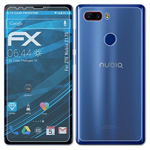 atFolix Schutzfolie kompatibel mit ZTE Nubia Z17S Folie, ultraklare FX Bildschirmschutzfolie (3er Set)