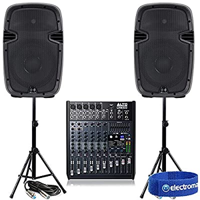Alto PRO LIVE802 Live Mixer + 2x Active Speakers + Stands Pub PA 1200W