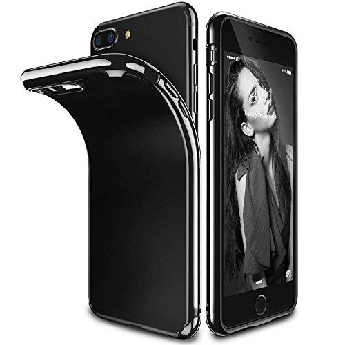 FinestBazaar iPhone 7Housse de Noir de Jais, Solide, Brillant Noir de Jais Souple en Gel TPU et Protecteur d'écran pour iPhone 7[Noir] [11,9cm]