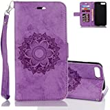 iPhone 8 Plus Wallet Case, Aeeque Bookstyle Flip Stand Magnetic Clsap with Card Slot PU Leather Soft Bumper Protection Cover and Elegant Purple Mandala Flowers Design Case for iPhone 8 Plus 2017 5.5 inch