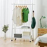 ZXYMJ Kleiderhaken Bambus Garderobenständer Kleiderständer Schuhablage Kleiderstange Rollen Kleiderstang Nivellierfüße (Farbe : B)
