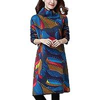 beautyjourney Vestido de Manga Larga para Mujer con Estampado Boho de Cuello Alto Túnica Floja Ocasional del suéter Vestido Estampado Vintage