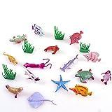 Lnlyin Océan Mer Animal, Lot DE 16Assortis Mini Vinyle Plastique Animal Jouet Ensemble, Réaliste Under The Sea Life Figurine Jouet de Bain pour Enfant éducatif Fête Cupcakes