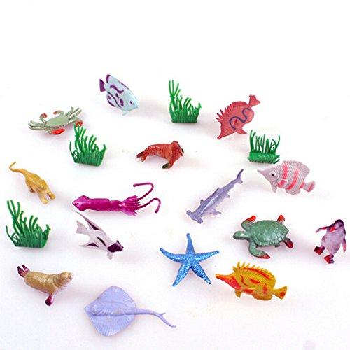 lnlyin Ocean Sea, 16Pack Sortiert Mini-Vinyl-Kunststoff Tier Spielzeug-Set, Realistische, Unter Dem Meer Leben Figur Bad Spielzeug für Kind Educational Party Kuchen Cupcake