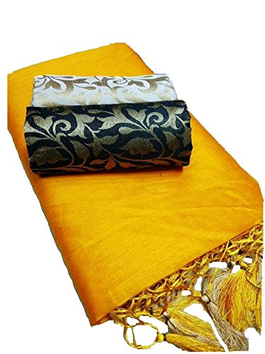 SilverStar Women's Kalkatta Cotton Fabric Complete Corner Silk Frill Plain Saree With...