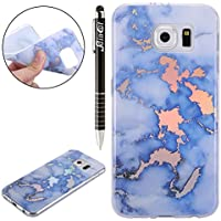 Coque Galaxy S6, Coque Galaxy S6 Marbre Silicone, SainCat Ultra Slim Silicone Case Cover pour Samsung Galaxy S6, Ultra Slim Silicone Motif Marbre Soft Gel TPU Cover Crystal Clear Ultra Resistante Transparent Silicone Case, Coque Souple Housse Silicone Ultra Mince Shockproof Shell Ultra Thin Bumper Case Skin Étui Coque Silicone Antichoc Housse Bumper Cover pour Samsung Galaxy S6-Placage Bleu