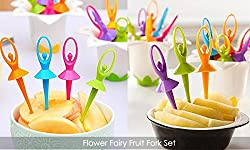 House of Quirk Flower Fairy Fruit Fork Set Series 6pcs/set Fork Stand Eco-Friendly, non-toxic, Suitable for salads, fruits and more