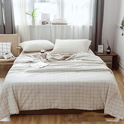 MQC Sommerdecke, Baumwolle und Leinen, volle Feder, Seide, Baumwolle, gepolstert, warm, atmungsaktiv, weiß, 200x230cm -