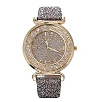 Womens Crystal Quartz Watches,Ulanda-EU Numeral Analog Clearance Lady Wrist Watch Female Watches on Sale Watches for Women,Round Dial Case Shiny PU Leather Wristwatch ws63
