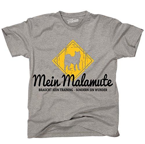 Siviwonder Unisex T-Shirt ALASKAN MALAMUTE Wunder NO Training Schäferhund witzig funny Hunde + Aufkleber Sports Grey