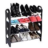 Inovera (Label) Convertible 4 Tier Stack-Able Black Shoe Rack Organizer