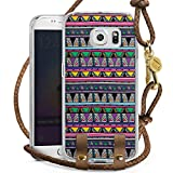 DeinDesign Samsung Galaxy S6 Edge Carry Case Hülle zum Umhängen Handyhülle mit Kette Ethno Style Ethnostyle 80s