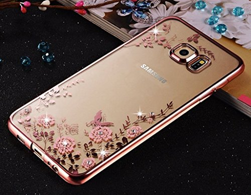 LOXXO Presents Case For Samsung Galaxy ON7 (2016) Shockproof Silicone Soft TPU Transparent Auora Flower Case with Sparkle for Samsung ON710 Back Cover ROSE GOLD