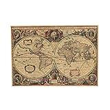 Mapa del Mundo Viejo Mundo Mapa de Papel Kraft Mate Papel Marrón Carta Náutica Retro Decoración Vintage Oficina en el Hogar 71x50 cm (tamaño : 52 * 72cm)