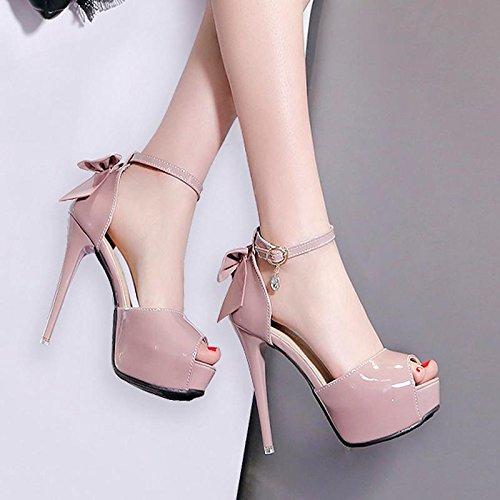 GTVERNH-rosa di 10cm solo scarpe super tacco bocca solo scarpe tacco a piattaforma notte negozio sexy scarpe nere superficiale tacco alto scarpa autunno,36 Thirty-eight