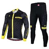 Asvert Ropa de Bicicleta Hombre MTB Traje de Ciclismo Mangas Largas Maillot+Pantalones Equipación de Ciclista para Verano, Talla M-3XL