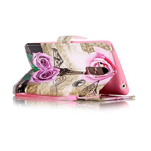 Feeltech LG LS770/LG G4 Stylus Hülle,LG LS770/LG G4 Stylus Magnet Leder Wallet Cover,Elegant Soft PU Kartenfach Extra Dünn Tasche Bunte Relife-Muster [Stand Funktion] Karte Halterung Klapp hülle Flip  Rose Blume Turm