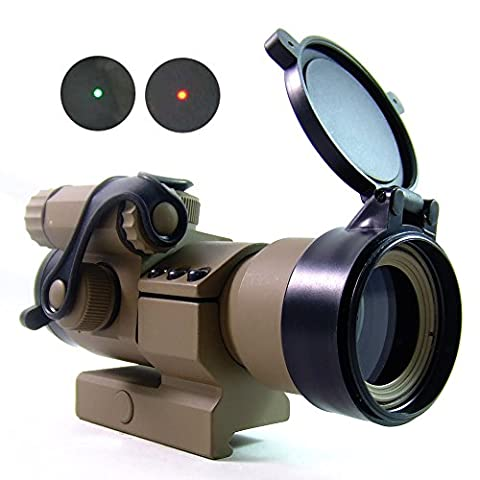 Tactical 1x32mm Cantilever M2 Red/Green Dot Sight Scope Riflescope with 3 Levels Dot Brightness with L Mount TAN DE Cover for Military Airsoft Hunting Shooting Paintball