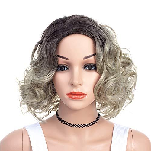 AHNNER Kurze lockige Haare Flauschige Perücke, Wasser welligkeit lockig braun Cyan 2 Farbe Locken Mischfaser synthetische Maskerade Cosplay Frauen 14 \'\'